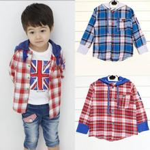 Toddler Kids Boys Plaid Shirts Jacket Hooded Long Sleeve Cotton Coat Tops Clothing for Baby 1-5Y New