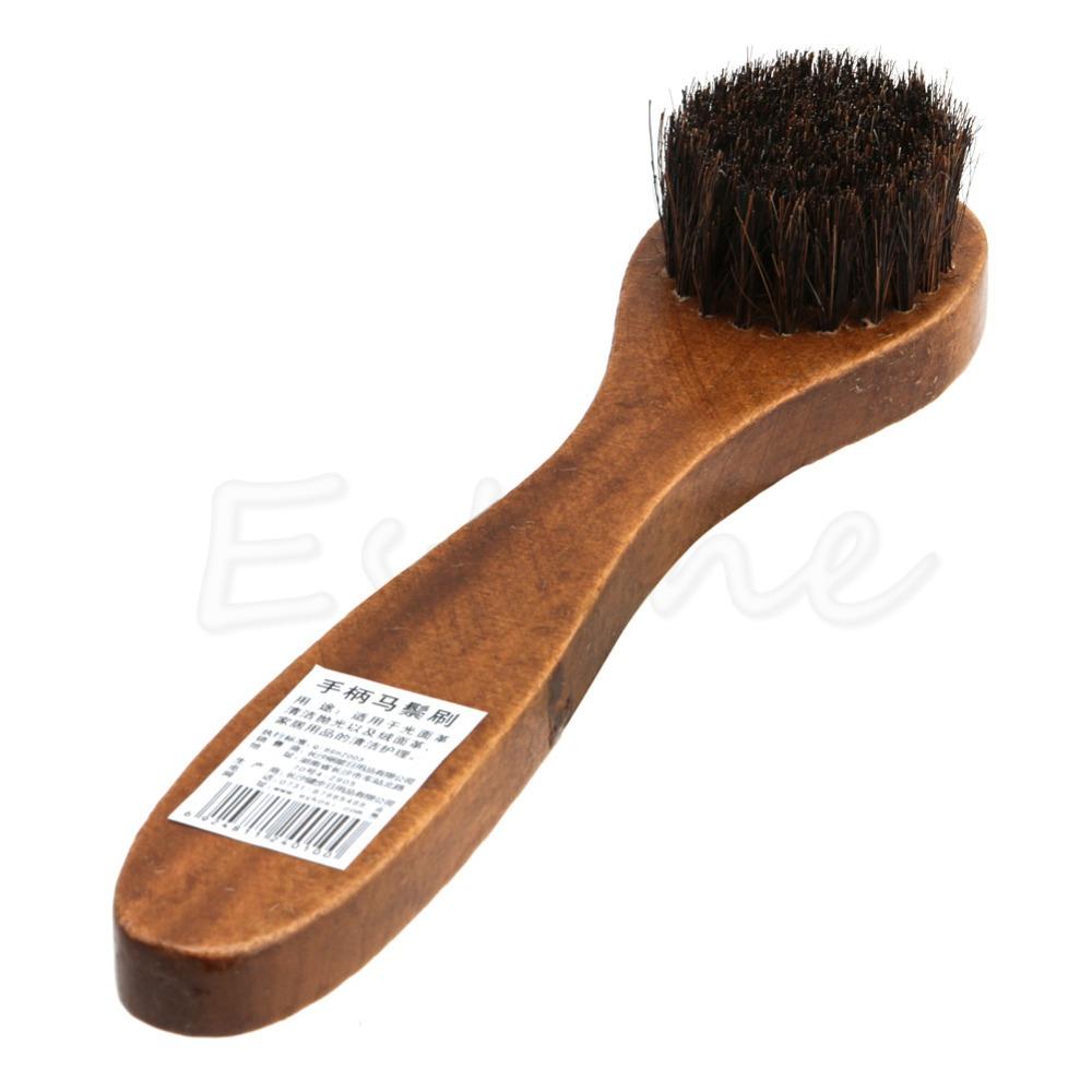 Long Wood Handle Bristle Horse Hair Brush Shoes Boot Polish Buffing Brush Care(China (Mainland))