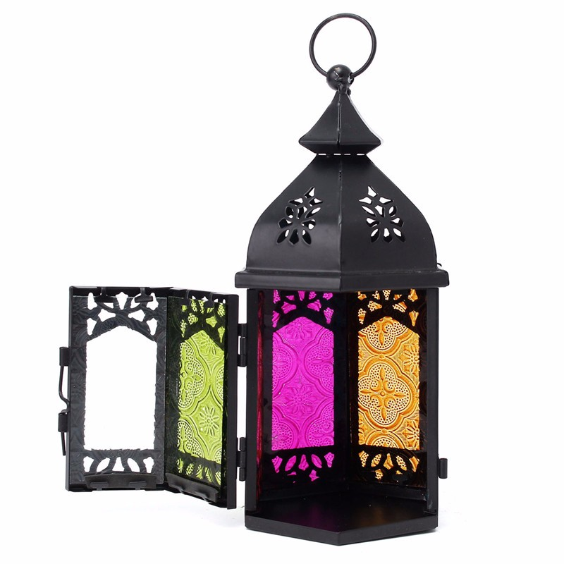 Vintage Glass Iron Moroccan Delight Garden Candle Holder Table Hanging Lantern Fine for Home Wedding Party Decoration(China (Mainland))