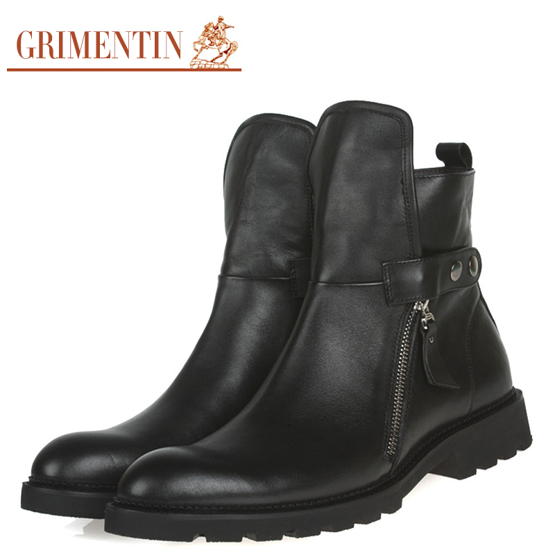 GRIMENTIN fashion men ankle boots genuine leather italian style business mens autumn boots zb142(China (Mainland))