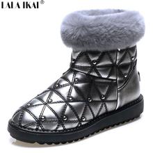 LALA IKAI mujeres furry nieve botas Remaches Sólidos señoras de la alta Calidad de piel de Conejo de Algodón Caliente zapatos de cuero de la pu bling XWN0862(China (Mainland))