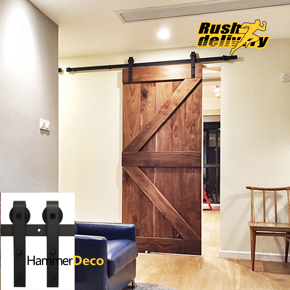 FREE SHIPPING 6.5FT Black Country Barn Wood Steel Sliding Single Door Hardware Closet Set American Style(China (Mainland))