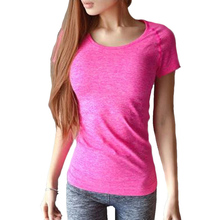 Women Sports T Shirt Short Sleeves Hygroscopic Quick Drying Fitness Gym T-shirt For Running Women Top Clothes Jogging Tees(China (Mainland))