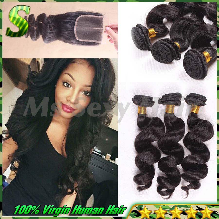 Brazilian Loose Wave With Closure Human Hair Bundles With Closure 7A Unprocessed Virgin Brazilian Hair Bundles With Lace Closure