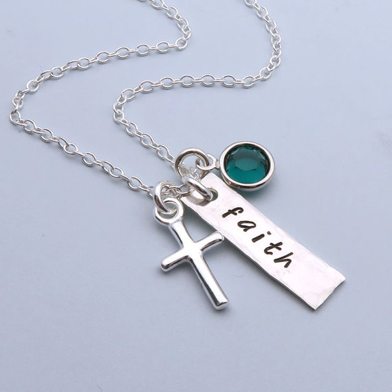 Faith Crystal Necklace Hand Stamped Silver Cross pendant Necklace can shoode crystal colrs for gift LQ0032(China (Mainland))