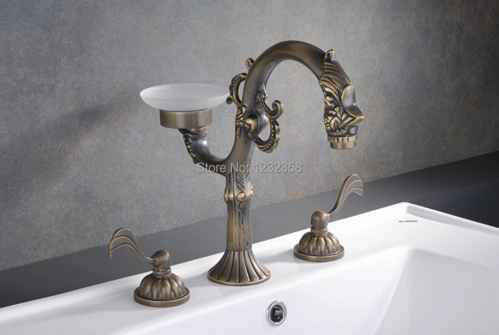 Antique brass waterfall bathroom bath roman tub filler faucet w hand Antique brass faucet bathroom