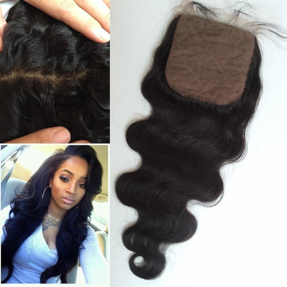 Burmese Virgin hair Silk Base Closure medium to dark brown silk base body wave 4*4 hidden knots natural hair cheap silk closure<br><br>Aliexpress