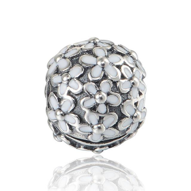 Чистый 925-Sterling-Silver ювелирные изделия ромашки клипы эмаль бусины подходит пандора браслет змея цепи DIY женщины ювелирных изделий