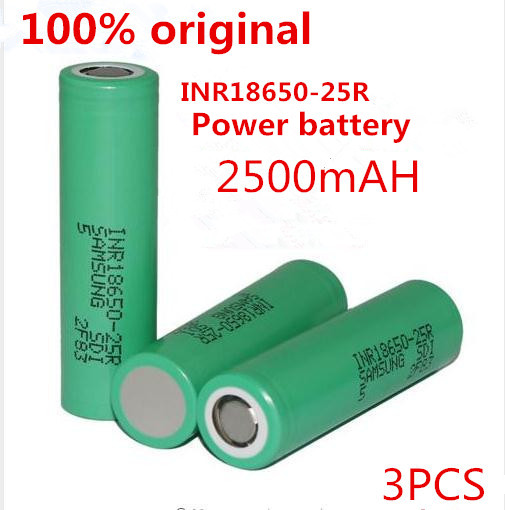 3PCS 100% Original 18650 25R INR18650 2500mAh Lithium Battery 20A Continuous Discharge Capacity Electronic Cigarette for Samsung(China (Mainland))