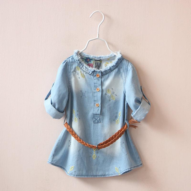 New Girls baby Neckline grinding burrs Dual sleeve long shirt belt embroidery Cowboy skirt shirts  wholesale<br><br>Aliexpress