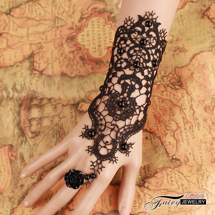 2015 popular gothic punk sexy black lace bracelets retro cosplay cuff baracelet bride bridesmaid jewelry accessories(China (Mainland))