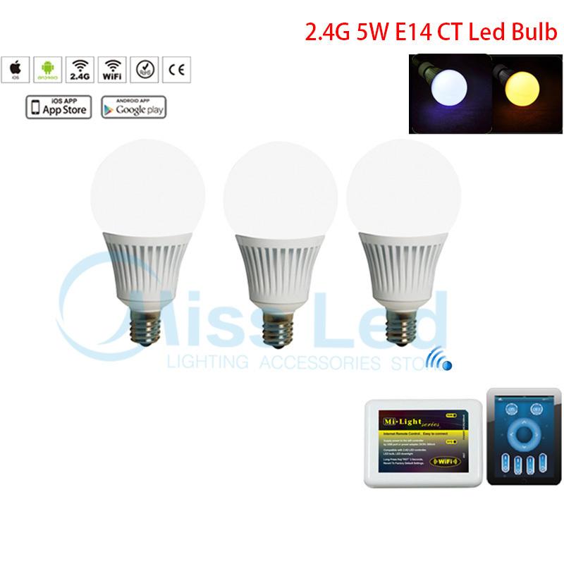 1X Mi light smart WIFI controller via Phone app+ 3x 5w E14 smart led bulb CT spotlight bulbs dimmable WW/CW adjustable lamp(China (Mainland))