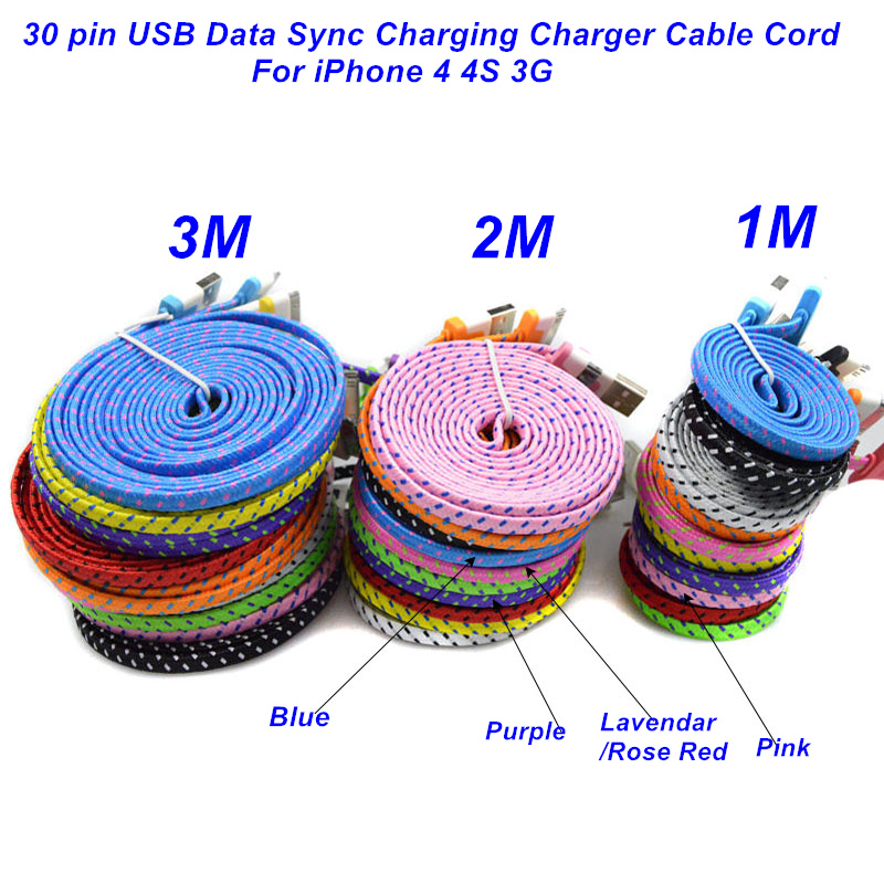 1M/2M/3M High Quality Braided Flat 30 pin USB Data Sync Charging Charger Cable Cord For iPhone 4 4S 3G(China (Mainland))