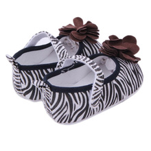cute flower toddler shoes sole soled baby shoes little baby girl shoes zebra print flat shoes girls first walkers(China (Mainland))