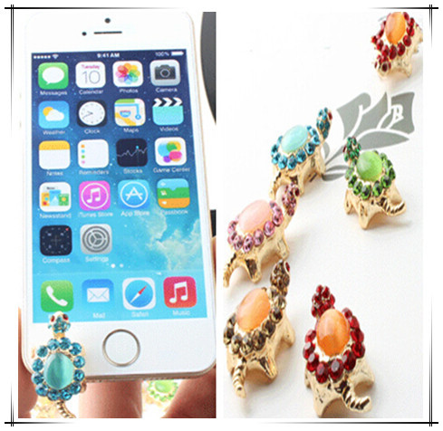 Hot!!wholesale (5pcs/lot)New phone headset plug diamond turtle Opal Dust plug for Apple iphone5 5S for all Smartphone(China (Mainland))