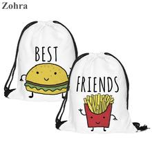 2 Piece BURGER FRIES Women Mochila Escolar Sport Man Gym Bags Mochilas Forever Backpack Drawstring Bag Zohra 3D Printing Brand