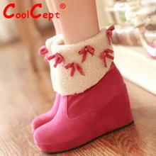 Tamaño 34-39 nieve Rassia invierno tobillo media cortos calientes botas de tacón alto de piel gruesa bota moda mujer zapatos de cuña calzado P10411(China (Mainland))