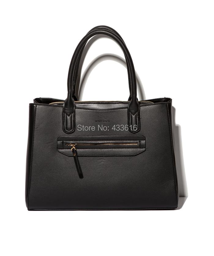 Free Shipping Fashio PU Shoulder Bags Pure Black Color Women Handbags Female Shoulder Bags<br><br>Aliexpress