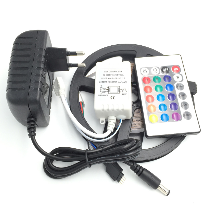 5M Non-Waterproof SMD3528 LED Strip 300 leds 5m rgb led light + 24keys controller +12v 2a Power adapter Plug(China (Mainland))