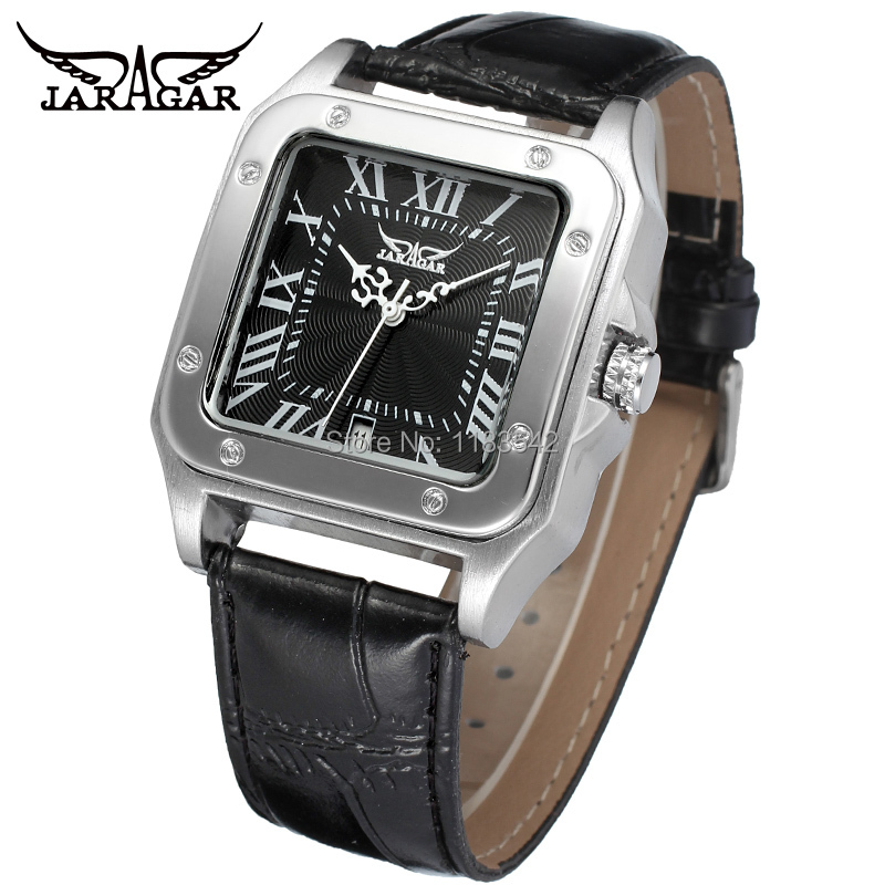 2014 New Winner Casual Automatic Watches Men Hot sale  Automatic fashion Men Watch black leather strap Shipping Free WRG8073M3S2<br><br>Aliexpress