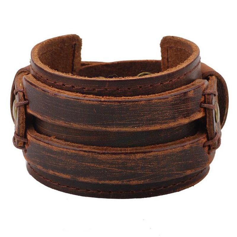 Hot Classic Vintage Leather Cuff Bracelet Black Coffee Bangles Men Fashion bijoux pulseira Gift QNB138(China (Mainland))
