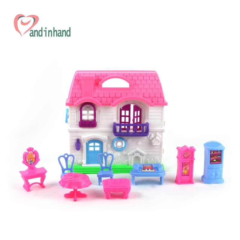 Children Pretend Play Toys Miniature Furniture Set Girl Dressing Table Chair Plastic Doll House Door Gift For Girl(China (Mainland))