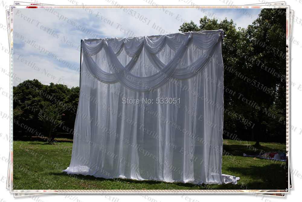 Free Shipping 3x3m Elegent White With Swag Pleated Drapes Wedding Party Backdrop Curtains