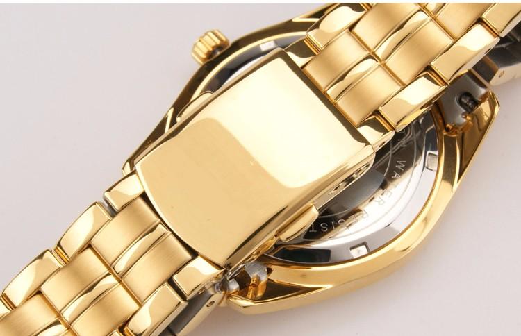 Марка 1 Пара Роскошные Мода Повседневная Влюбленных Смотреть Мужчин и женщин Кварц Золото Наручные Часы Сапфир Неделя Дата Календарь Водонепроницаемый 50 М