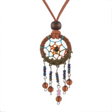 Light Brown Dreamcatcher Necklace Handmade Pendant Indian Dream Catcher Korea Velvet Jewelry 1PC