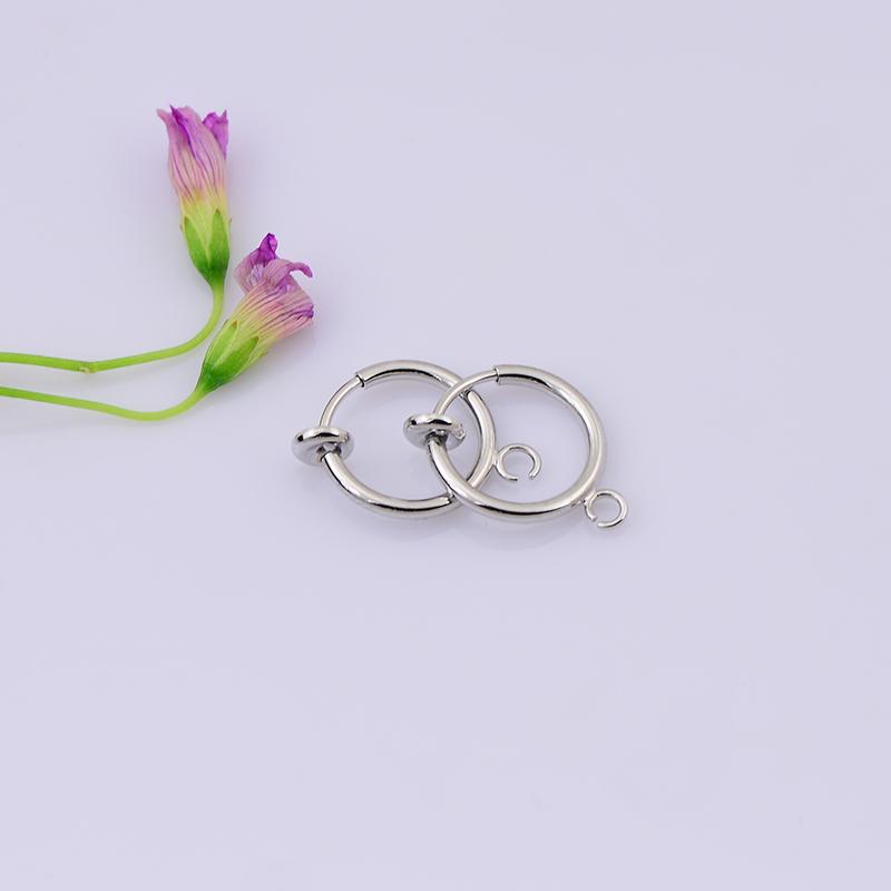 20 pcs/lot Kulana 13 mm imitation platinum Clip on Fake Hoop earring findings(China (Mainland))