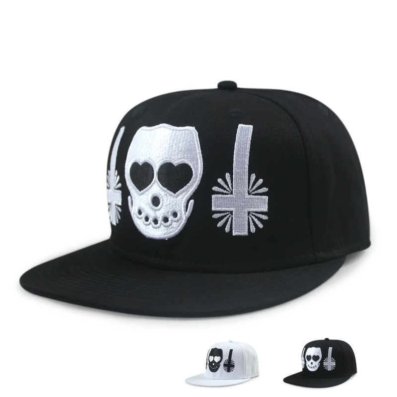 Baseball Caps Choose the letter male spring summer skeleton head cross embroidery hiphop Street hip hop hat(China (Mainland))