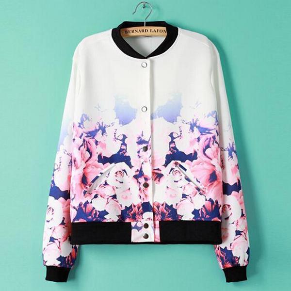 2014 Newest Women Fashion Color Change Flower Pattern Print Baseball Uniform Coat Jacket(China (Mainland))