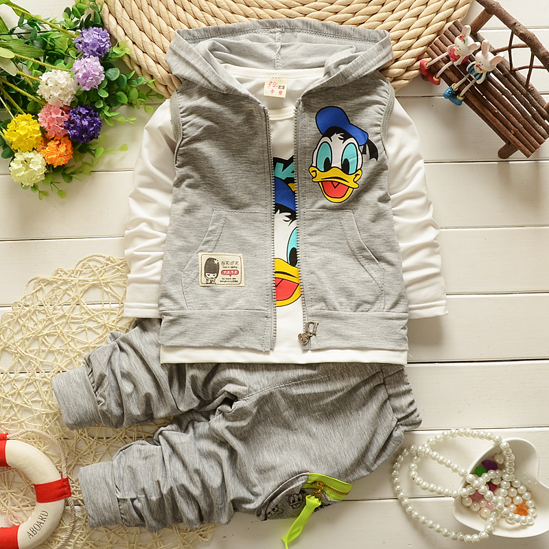 children spring autumn fashion cartoon character kids casual vest coat jacket T-shirt pants 3 pcs sport style boys clothing sets(China (Mainland))