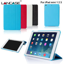 Case for iPad Mini Tripled Folded Back Stand Tablet Case for iPad mini 2 Flip Leather Case for iPad mini 1 2 3 Cover Solid Color(Hong Kong)
