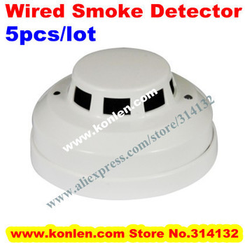 Photoelectric smoke sensor fire detector wired with NO/NC output for fire alarm, 5pcs/lot