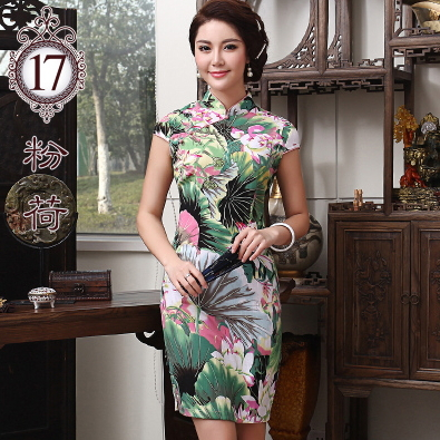 2015 Short Sleeve Linen/cotton Women's Dresses Summer style Sexy Dress for woman Qipao Chi-pao Chinese Tang Cloth Free shipping(China (Mainland))