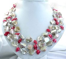 Buy 3strands 13mm red baroque FW pearl shell Necklace for $18.99 in AliExpress store