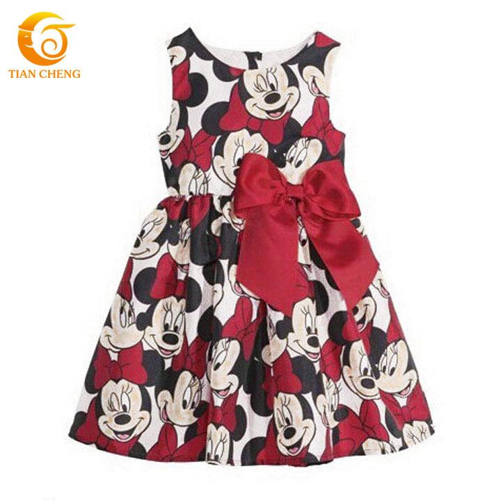 HOT Cartoon Vestido Minnie Festa Bow Cotton Baby Girl Dresses Minnie Mouse Toddler Girl Dresses Party Vestido De Festa Minnie(China (Mainland))