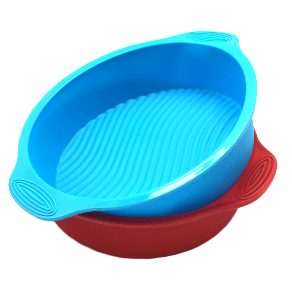 Good Quality 100% Food Grade Round Shape 29X24.5CM Silicone Cake Pan With Handle,Silicone cake mould, DIY Cake tools(China (Mainland))