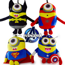 Big Avengers Minion Toys 4Pcs/Lot Captain America Superman SpiderMan Batman 22CM 3D Eyes Plush Toys Big Despicable Me Brinquedos(China (Mainland))