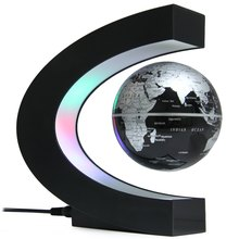 2016 Promotion! Creative C Shape Magnetic Levitation Globe World Map with Colorful LED Abajur for Desk Wedding Decoration(China (Mainland))