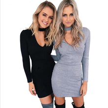 Buy 2017 autumn winter fashion women knitted dress elegant bodycon dresses casual long-sleeved black short sweater dress vestidos for $5.99 in AliExpress store
