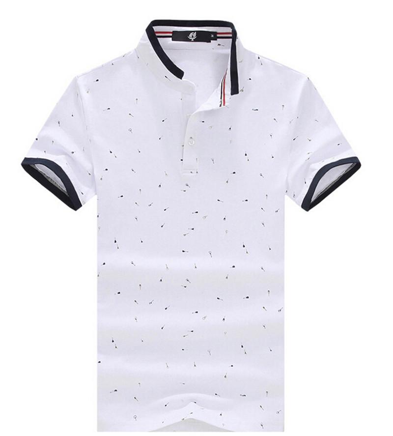 2016 Summer Men's Brand Polo Shirts Printing Shirts For Men Stand Collar Design 100% Cotton Mens Short Sleeve Polos Shirt(China (Mainland))