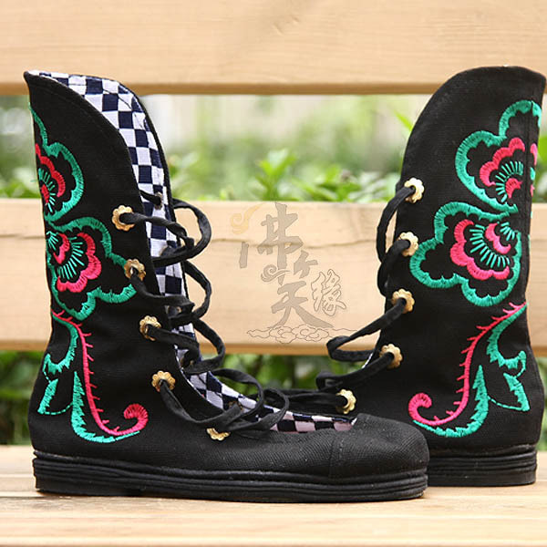 Embroidery flatlander satisfied embroidered shoes chinese style beijing fashion version of black