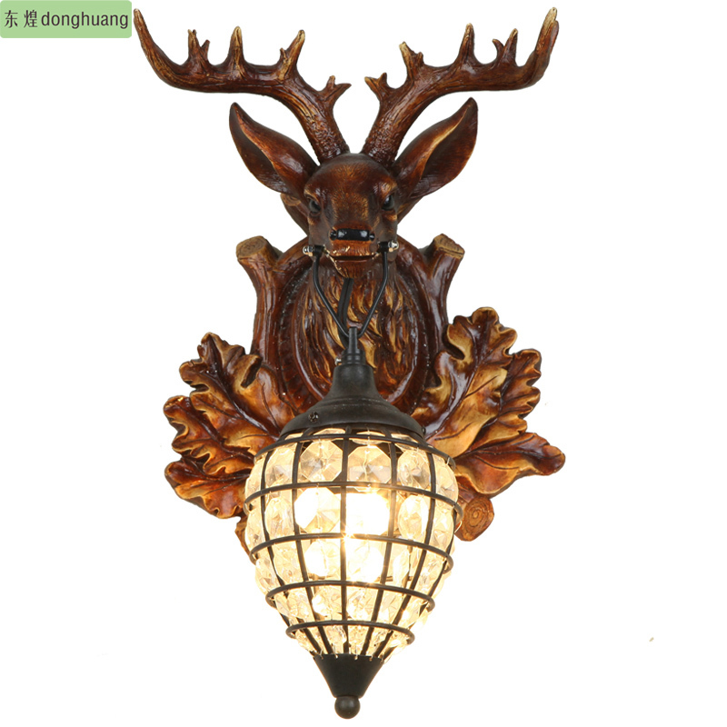 Free shipping Luxury deer living room bedroom lamp creative restaurant lights polymers E27 LED wall lamp christmas(China (Mainland))