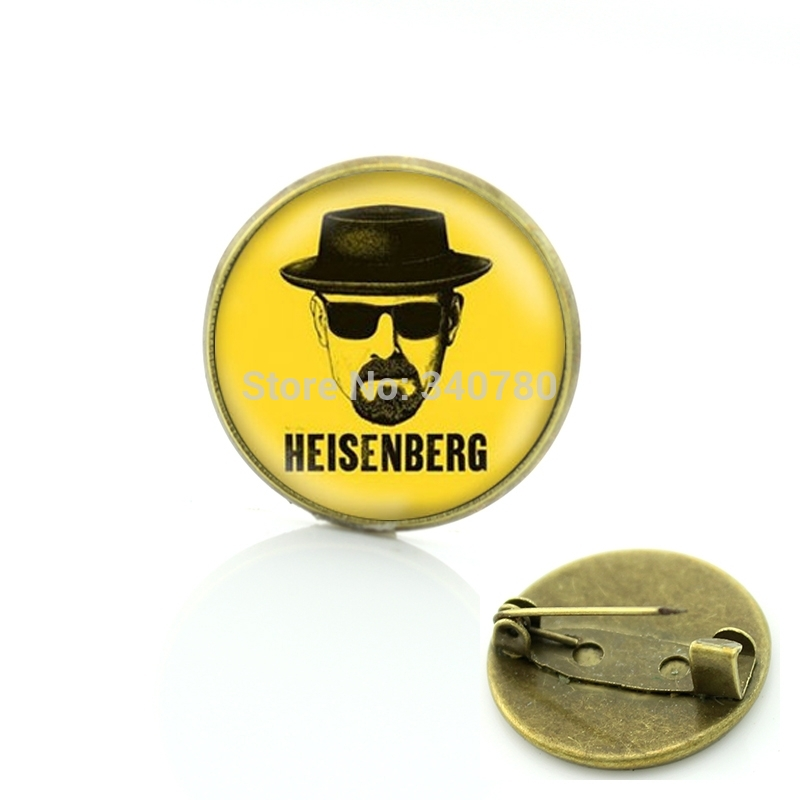 Personalitily dress Accessory Heisenberg Print brooches pins Breaking Bad bros plated metal jewelry for men Free shipping BP139(China (Mainland))