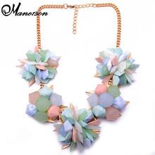 Primavera nuevo Color de la flor mujeres gargantilla resina del Color del caramelo ZA Vintage de lujo del buen collar de declaración Jewelry8470