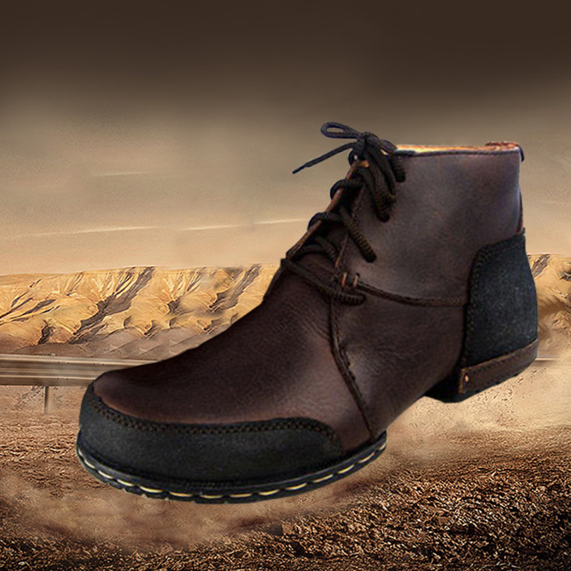 OTTO ZONE Top Quality Handmade Genuine Cow Leather Ankle Boots Fashion Martin Boots With Fur Men Winter Rivet Shoes EU 39-45(China (Mainland))