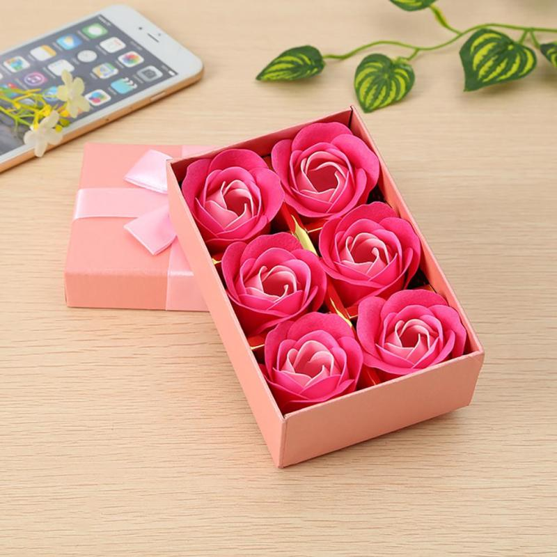 Scented Bath Soap Rose Soap Flower Petal with Gift Box For Wedding Valentine's Day 6 Pcs / Set A45(China (Mainland))