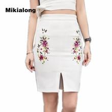 Buy Mikialong Womens Casual High Waist Bodycon Skirt 2017 Black White Flower Embroidery Pencil Skirt Female Front Split Mini Skirt for $14.03 in AliExpress store